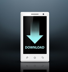 Download icon on the screen of your smartphone vector