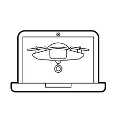 Drone flying technology with laptop vector