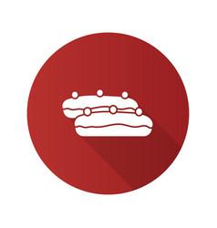 Eclair cake flat design long shadow glyph icon vector