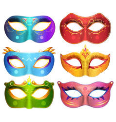face masks collection for masquerade party vector image