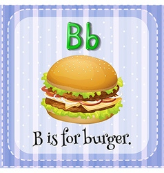 Flashcard letter b is for burger vector