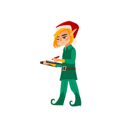 flat elf boy holding clipboard vector image