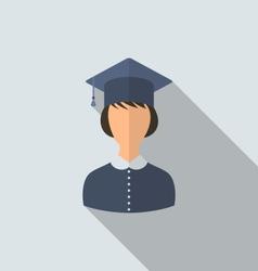 Flat icon female graduate in graduation hat vector