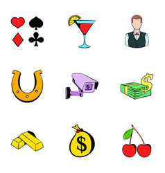 fortune icons set cartoon style vector image