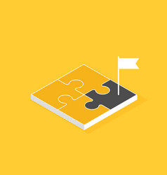 four parts puzzle with flag isometric flat vector image