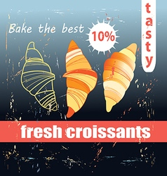 Fresh and delicious croissants vector