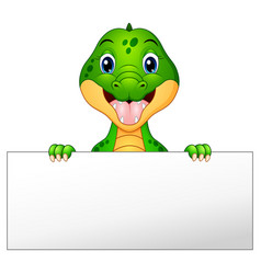 funny crocodile cartoon holding blank sign vector image