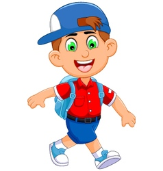 Funny little boy cartoon going to picnic vector