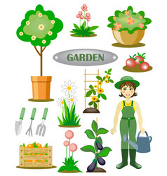 garden set with a gardener flowers and vegetables vector image
