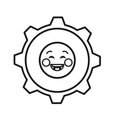 Gears machinery kawaii character vector