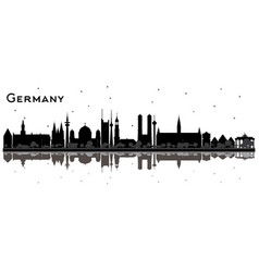 germany city skyline silhouette with black vector image