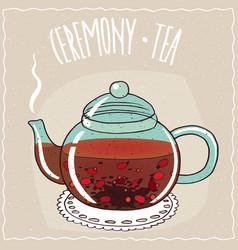 Glass teapot with tea rosehip vector