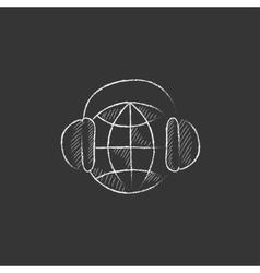 Globe in headphones Drawn in chalk icon vector