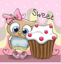 Greeting card cute owl with cake vector