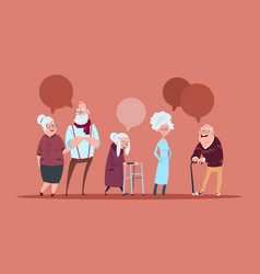 Group of senior people with chat bubble walking vector