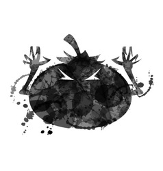 Halloween pumpkin with ink structure vector image