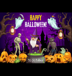 halloween wizard ghost mummy and werewolf vector image