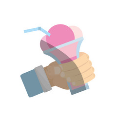 hand holding glass cup ice cream cherry vector image