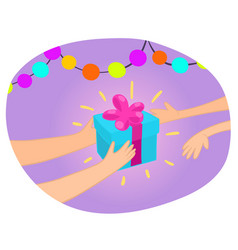 hands giving gift box to another hand vector image