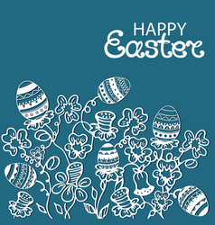 Happy easter card flowers and paschal eggs vector