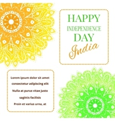 Happy India Independence Day postcard with mandala vector