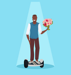 happy man riding electric scooter holding flowers vector image