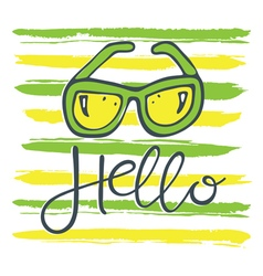hello sunglasses green yellow vector image