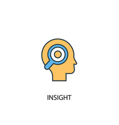 Insight concept 2 colored line icon simple yellow vector