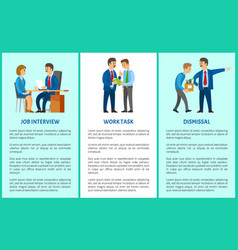 job interview work task dismissal poster vector image