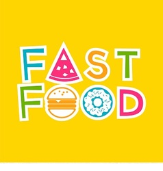 Logo fast food with donut hamburger and pizza vector