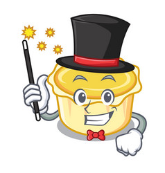 Magician egg tart mascot cartoon vector