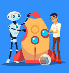 man and robot are building a rocket together vector image