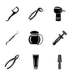 metal tool icons set simple style vector image