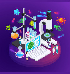 Microbiology isometric poster vector