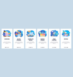 mobile app onboarding screens leisure time and vector image