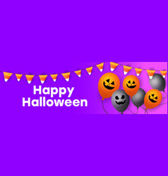 modern halloween sale banner with scary faces of vector image