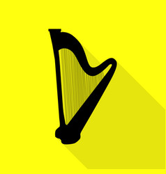 musical instrument harp sign black icon with flat vector image
