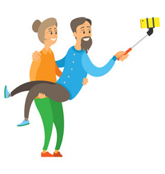 old woman holding senior making selfie vector image