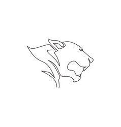 one single line drawing wild leopard head vector image
