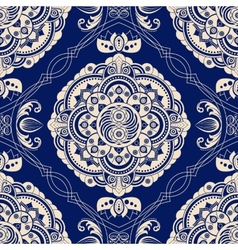 Ornamental seamless pattern Blue ethnic vector image