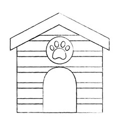 pet house wooden with paw print vector image