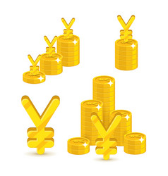 piles gold chinese yuan or japanese yen isolated vector image
