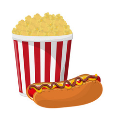 Pop corn cup and hot dog vector