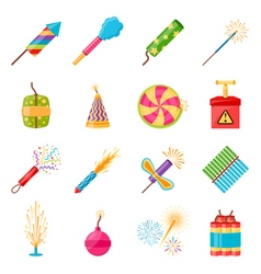 Pyrotechnics Festival Flat Icons Set vector image