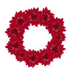 Red chrysanthemum wreath vector