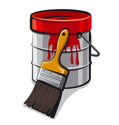 Red paint bucket vector