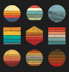 Retro vintage sunsets pack retro sunset grunge vector