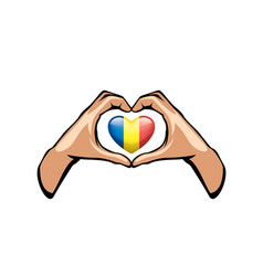 Romania flag and hand on white background vector