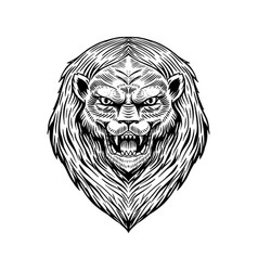 screaming mad lion or leo animal for tattoo vector image