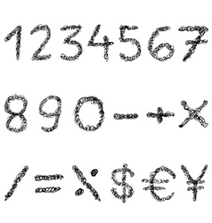 scribble numbers vector image